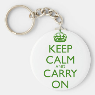 Keep Calm and Carry On British Racing Green Text Basic Round Button Keychain