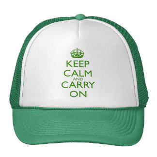 Keep Calm and Carry On British Racing Green Text Trucker Hat