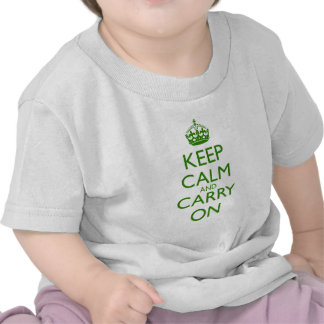 Keep Calm and Carry On British Racing Green Text T Shirt