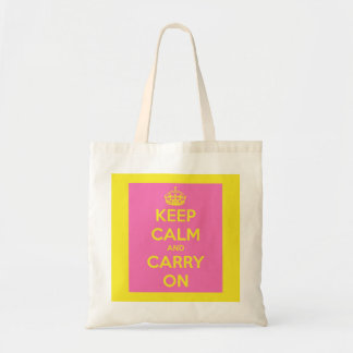 Keep Calm and Carry On Bubblegum and Sunshine Tote Bag