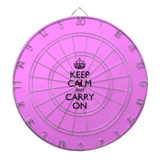 Keep Calm And Carry On Bubblegum Pink Pattern Dart Board