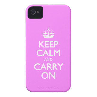 Keep Calm And Carry On - Bubblegum Pink White Text iPhone 4 Cover
