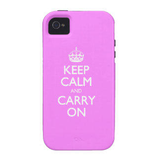 Keep Calm And Carry On - Bubblegum Pink White Text Case For The iPhone 4