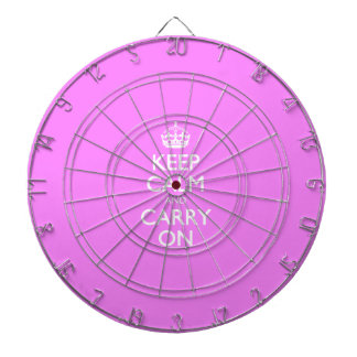 Keep Calm And Carry On - Bubblegum Pink White Text Dart Boards