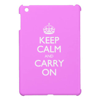 Keep Calm And Carry On - Bubblegum Pink White Text iPad Mini Cases