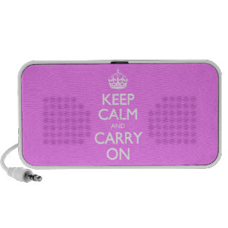 Keep Calm And Carry On - Bubblegum Pink White Text Portable Speakers