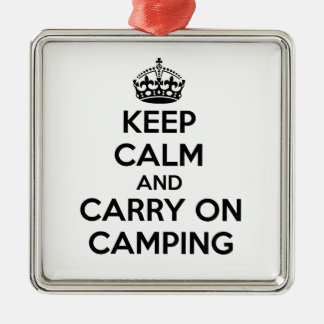 KEEP CALM AND CARRY ON CAMPING GIFT SELECTION NEW METAL ORNAMENT