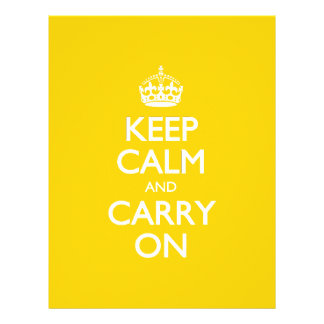 Keep Calm And Carry On - Canary Yellow White Text Customized Letterhead