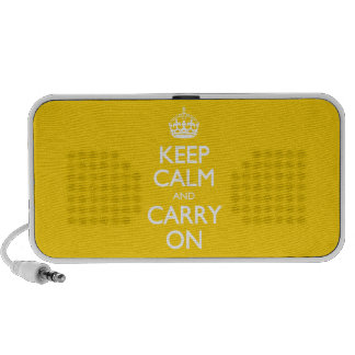 Keep Calm And Carry On - Canary Yellow White Text Notebook Speakers
