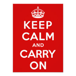 5.5' x 7.5' Invitation / Flat Card with Keep Calm and Carry On (Red) design