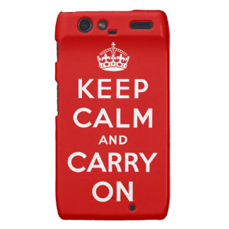 Keep Calm and Carry On Droid RAZR Cases