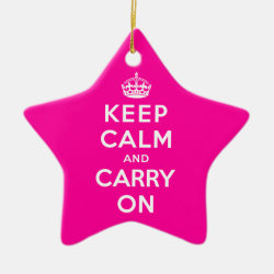 Star Ornament with Keep Calm and Carry On (Magenta) design