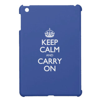 Keep Calm And Carry On - Cerulean Blue White Text iPad Mini Covers