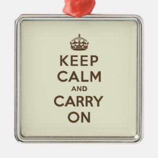Keep Calm and Carry On Chocolate on Vanilla Metal Ornament