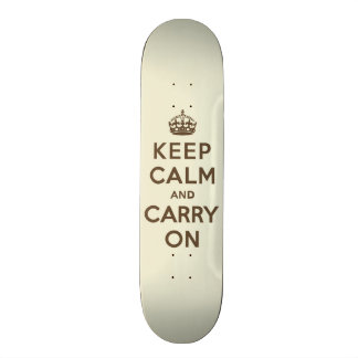 Keep Calm and Carry On Chocolate on Vanilla Skateboards
