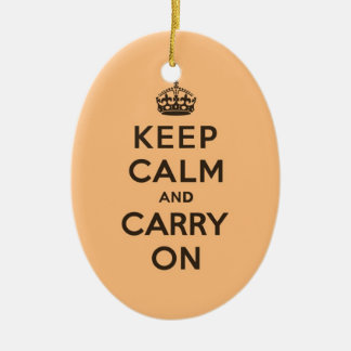 Keep Calm and Carry On Chocolate Orange Ceramic Ornament