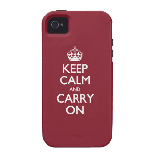 Keep Calm And Carry On - Cinnabar Red White Text iPhone 4 Case