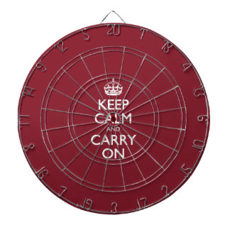 Keep Calm And Carry On - Cinnabar Red White Text Dartboard With Darts