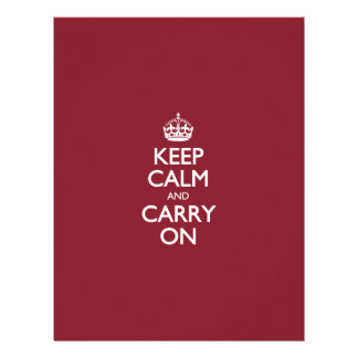 Keep Calm And Carry On - Cinnabar Red White Text Letterhead