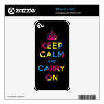 keep calm and carry on CMYK Skin For iPhone 4S