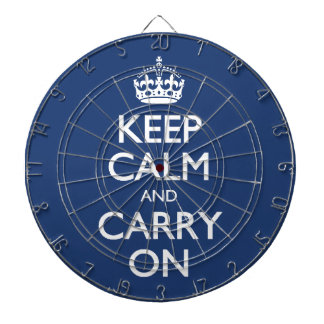 Keep Calm And Carry On - Cobalt Blue White Text Dartboard