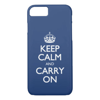 Keep Calm And Carry On - Cobalt Blue White Text iPhone 8/7 Case