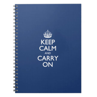 Keep Calm And Carry On - Cobalt Blue White Text Spiral Note Books