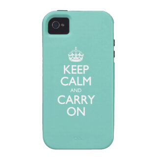 Keep Calm And Carry On - Cockatoo Mint. White Text Case For The iPhone 4