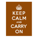 Keep Calm and Carry On Copper Brown Post Cards