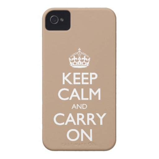 Keep Calm And Carry On Coppertone Brown White Text iPhone 4 Case-Mate Cases