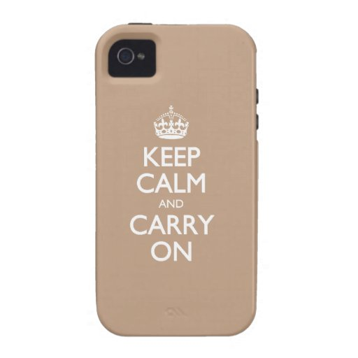 Keep Calm And Carry On Coppertone Brown White Text Vibe iPhone 4 Case