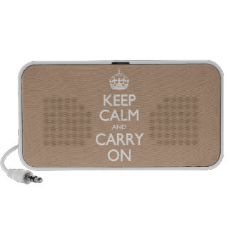 Keep Calm And Carry On Coppertone Brown White Text iPod Speaker