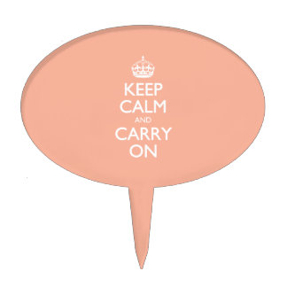 Keep Calm And Carry On. Coral Pink Pattern Cake Picks
