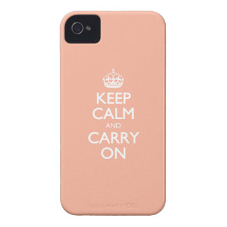 Keep Calm And Carry On. Coral Pink Pattern iPhone 4 Case-Mate Cases