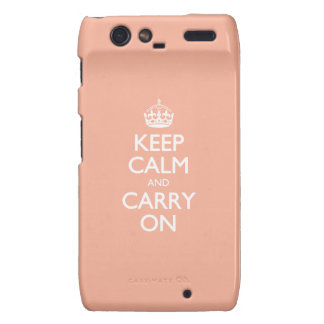 Keep Calm And Carry On. Coral Pink Pattern Droid RAZR Covers