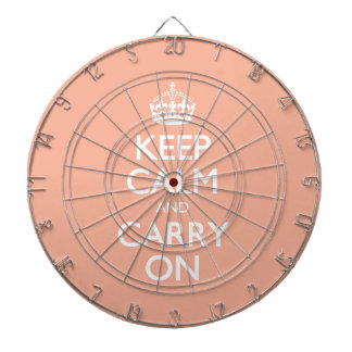Keep Calm And Carry On. Coral Pink Pattern Dartboard