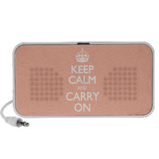 Keep Calm And Carry On. Coral Pink Pattern iPod Speaker