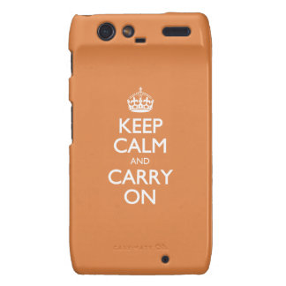Keep Calm And Carry On - Coral Rose - White Text Droid RAZR Case