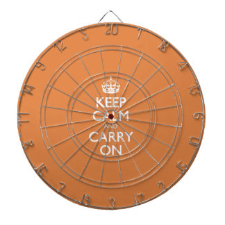 Keep Calm And Carry On - Coral Rose - White Text Dartboard