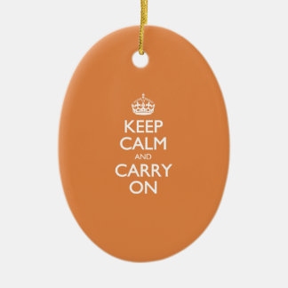 Keep Calm And Carry On - Coral Rose - White Text Ornaments
