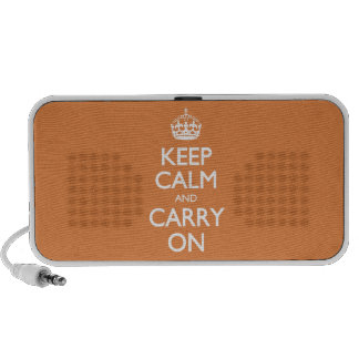 Keep Calm And Carry On - Coral Rose - White Text Notebook Speakers
