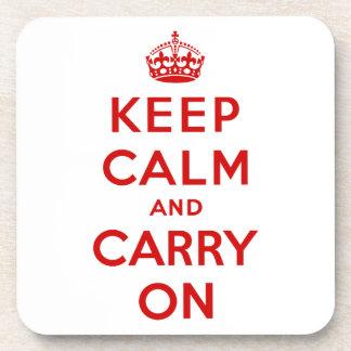 Keep Calm and Carry On Cork Coaster