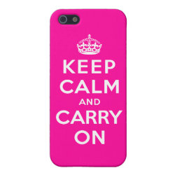 Case Savvy iPhone 5 Matte Finish Case with Keep Calm and Carry On (Magenta) design