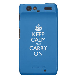 Keep Calm And Carry On - Crayon Blue White Text Motorola Droid RAZR Cases