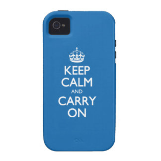 Keep Calm And Carry On - Crayon Blue White Text iPhone 4 Covers