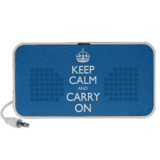 Keep Calm And Carry On - Crayon Blue White Text Mini Speaker