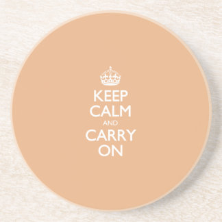 Keep Calm And Carry On. Creamsicle Pattern Beverage Coasters
