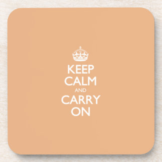 Keep Calm And Carry On. Creamsicle Pattern Drink Coaster
