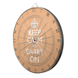 Keep Calm And Carry On. Creamsicle Pattern Dart Board