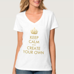 Women's Hanes Nano V-Neck T-Shirt with Keep Calm and Create Your Own design